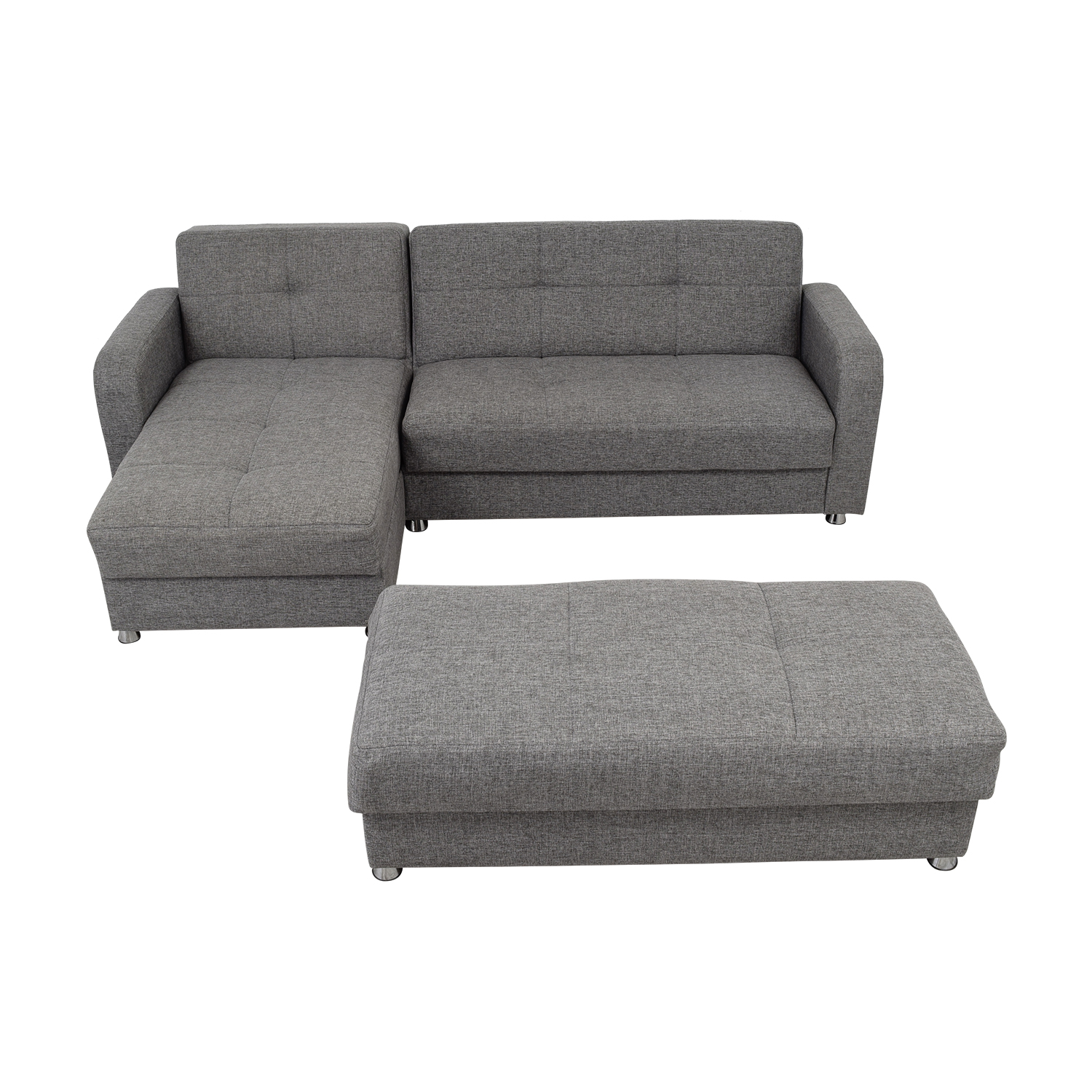 Istikbal Grey Convertible Sectional Sofa with Ottoman Bench sale