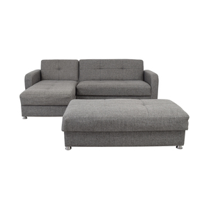 Istikbal Grey Convertible Sectional Sofa with Ottoman Bench Istikbal