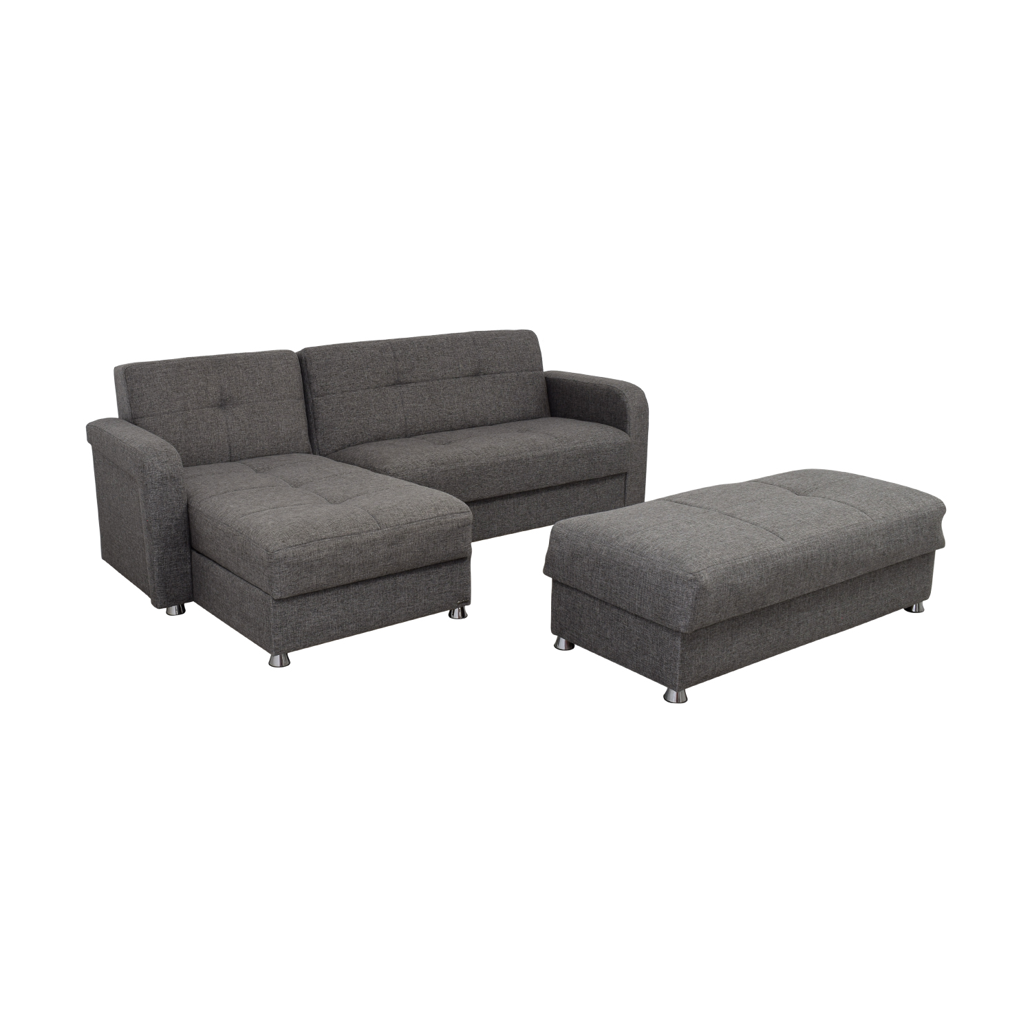 54% OFF - Istikbal Istikbal Grey Convertible Sectional Sofa with Ottoman  Bench / Sofas