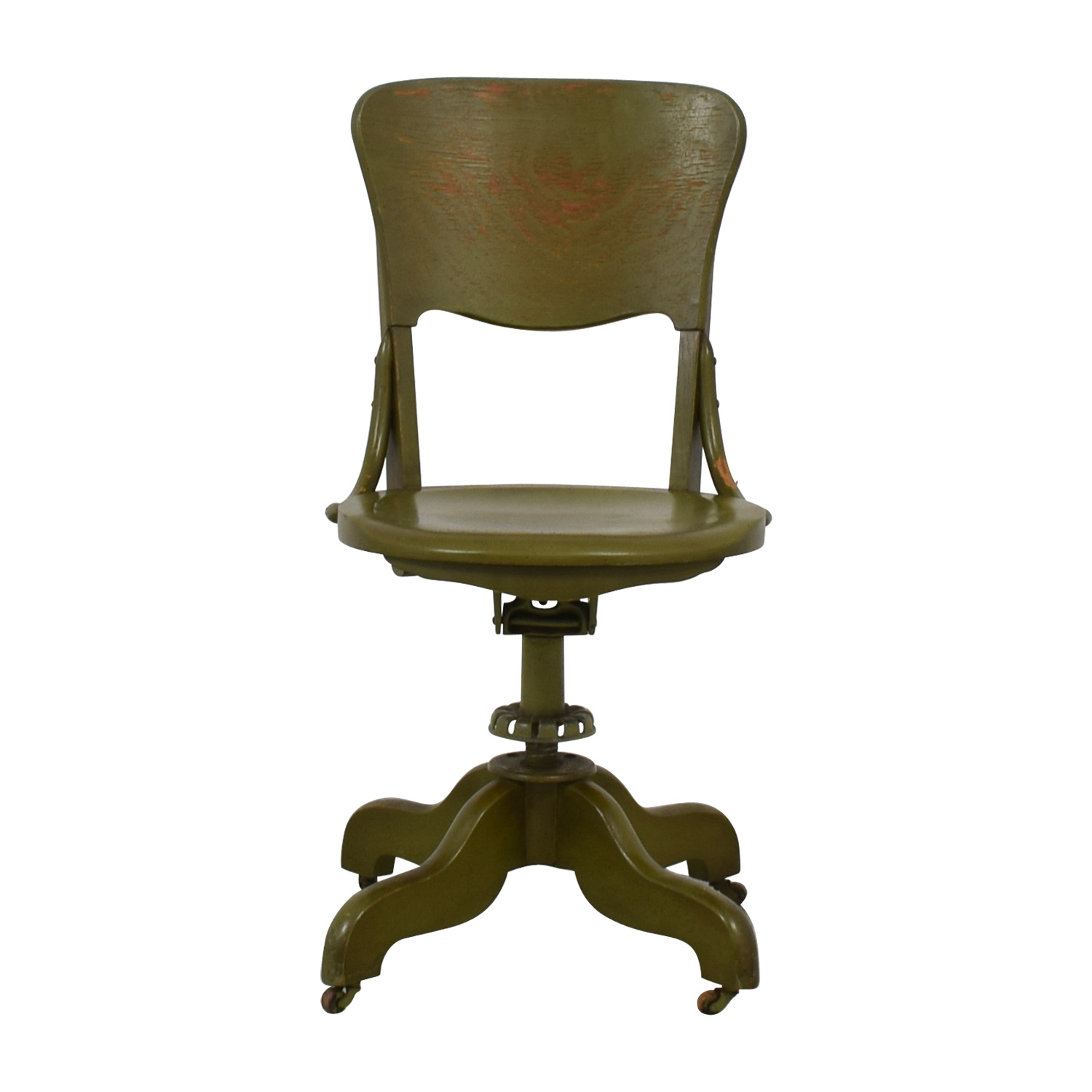Antique Olive Green Swivel Desk Chair coupon