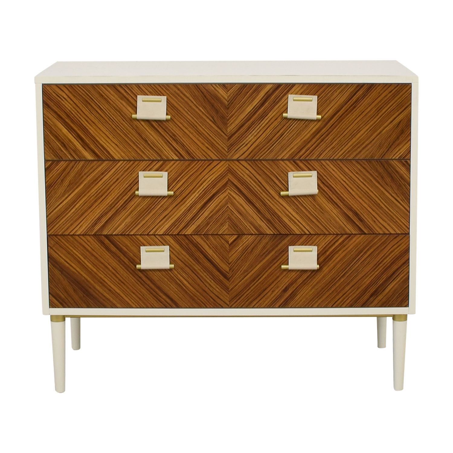 Anthropologie Anthropologie Geo-Marquetry White and Wood Three-Drawer Dresser Storage