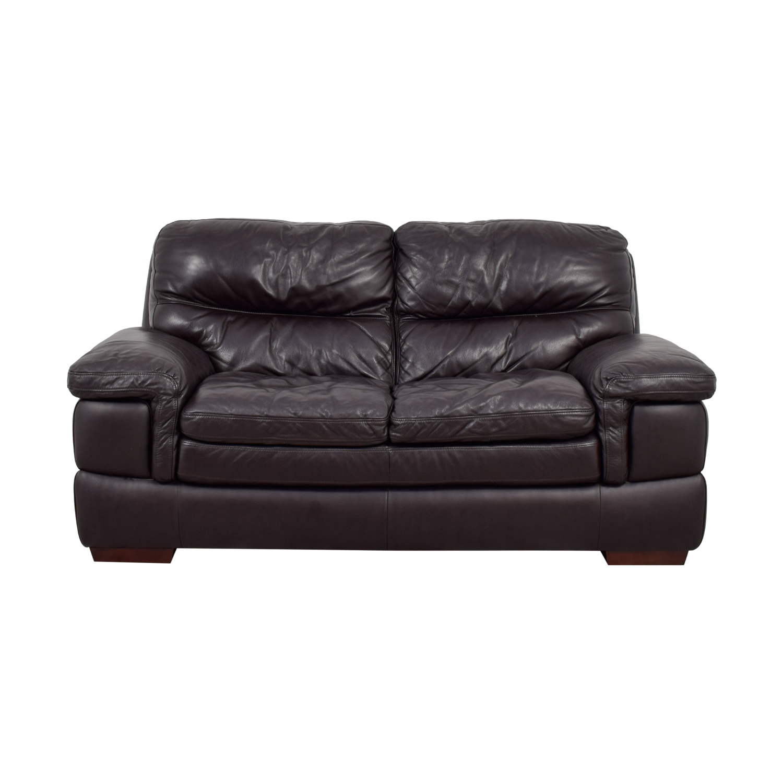 buy Bob's Furniture Bob's Furniture Carter Brown Leather Loveseat online