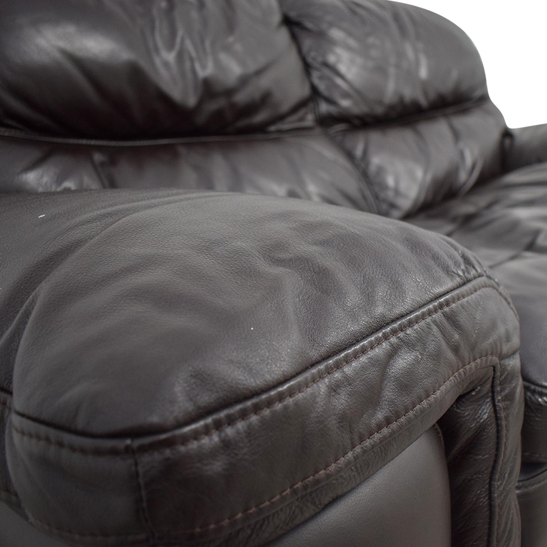 Bob's Furniture Bob's Furniture Carter Brown Leather Loveseat coupon