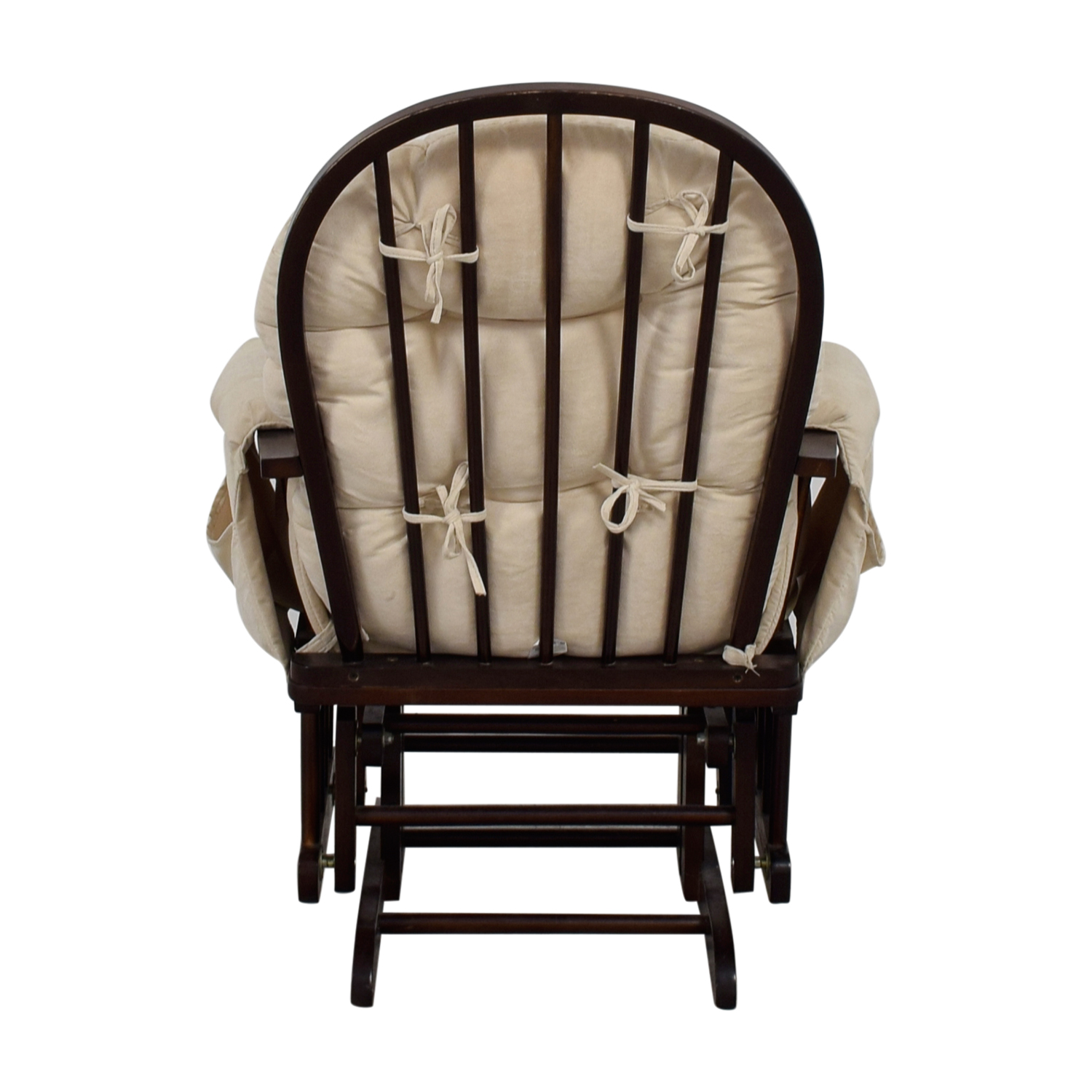 Beige and Wood Rocking Chair with Ottoman for sale