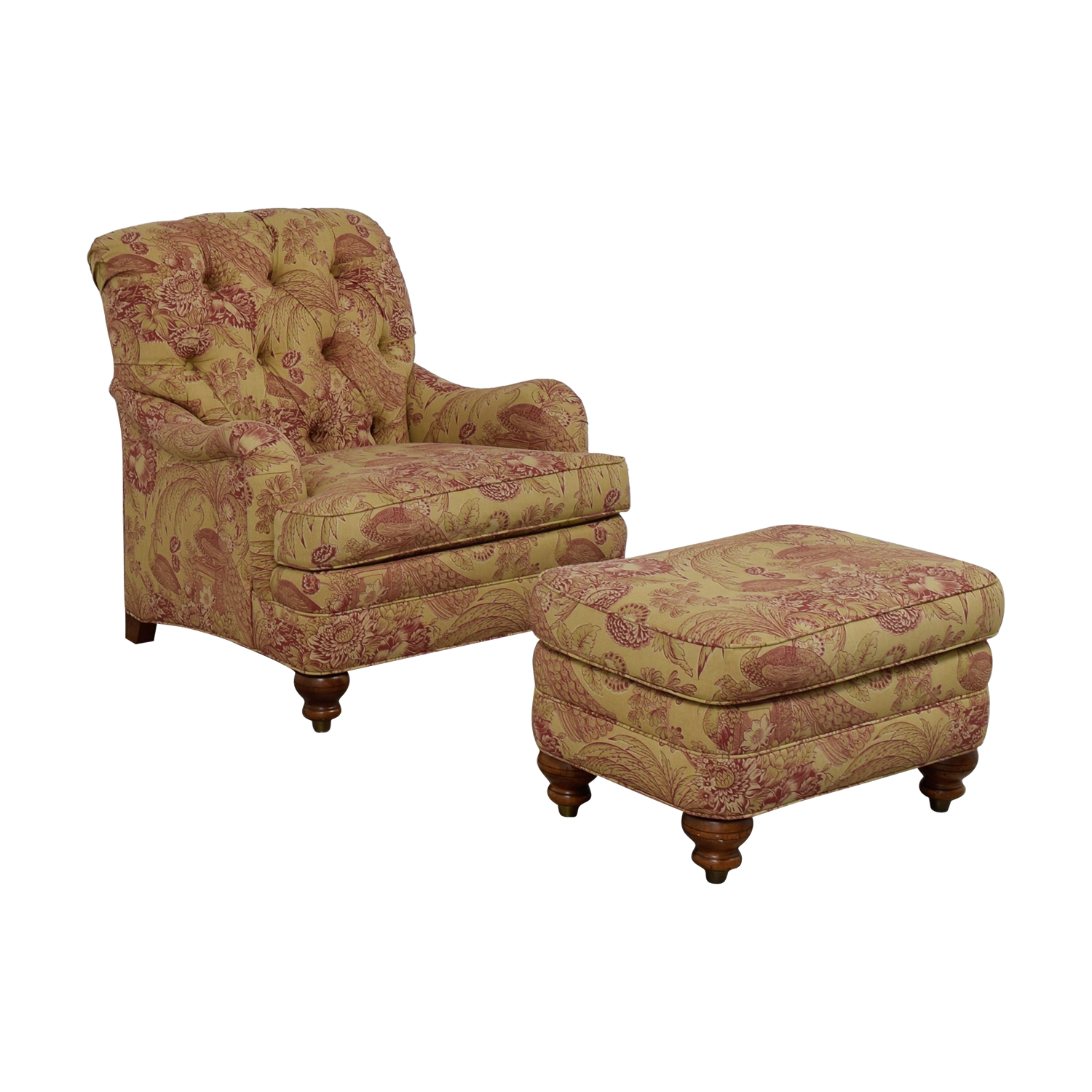 ... Ethan Allen Ethan Allen Mercer Beige And Red Tufted Chair And Ottoman  Price ...