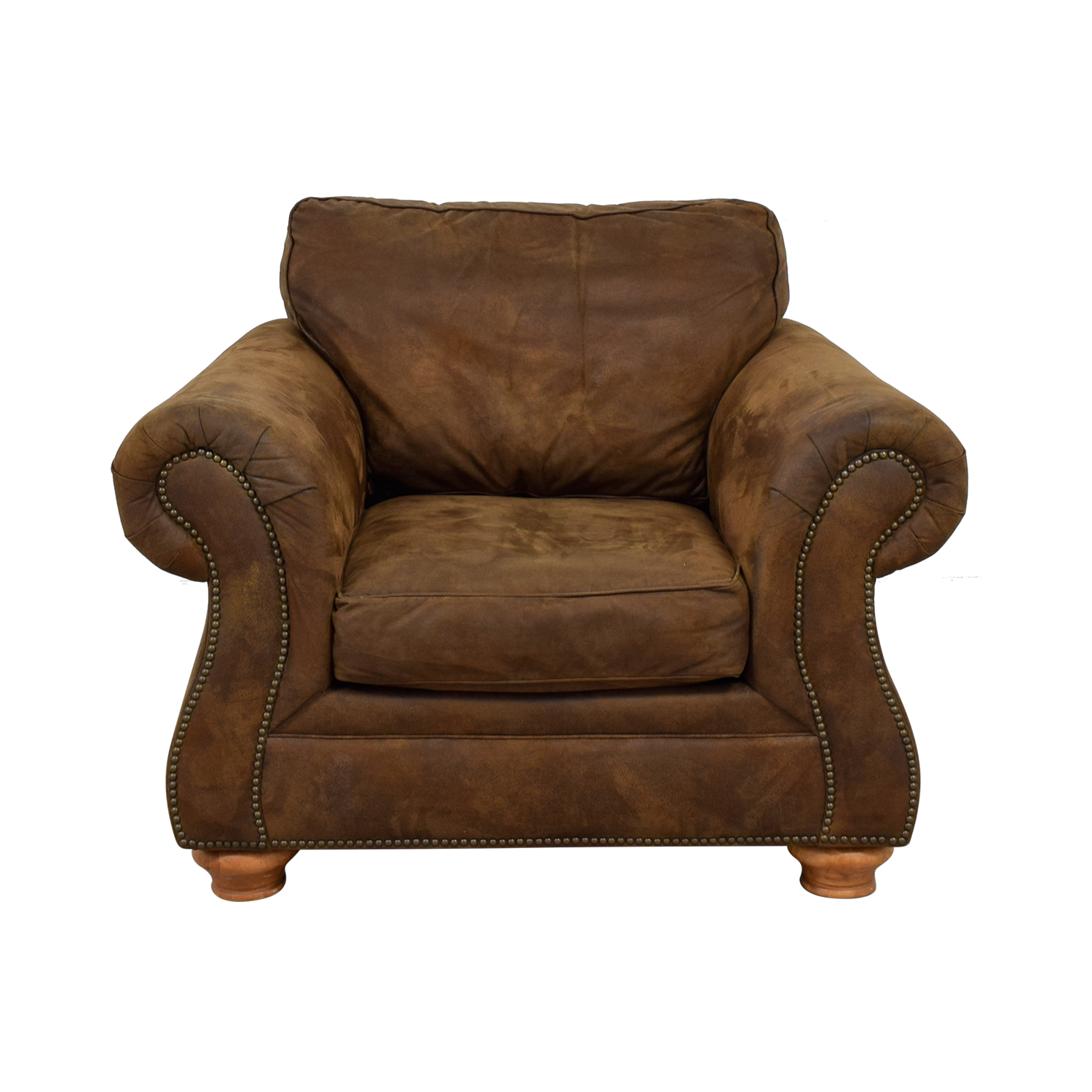 shop Raymour & Flanigan Brown Suede Lounge Chair Raymour & Flanigan Sofas