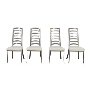 Johnston Casuals Johnston Casuals White and Pewter Dining Chairs nyc