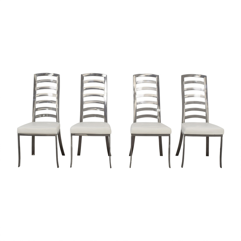 Johnston Casuals Johnston Casuals White and Pewter Dining Chairs nj