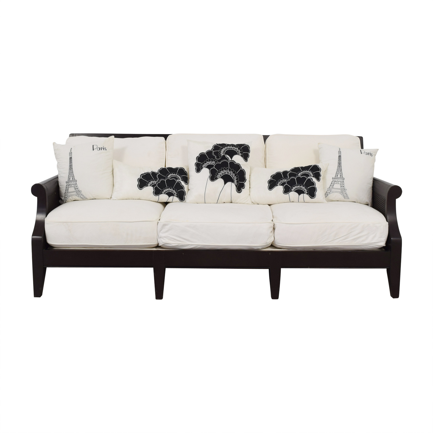 shop Bloomingdale's White Three-Cushion Sofa Bloomingdale's Sofas