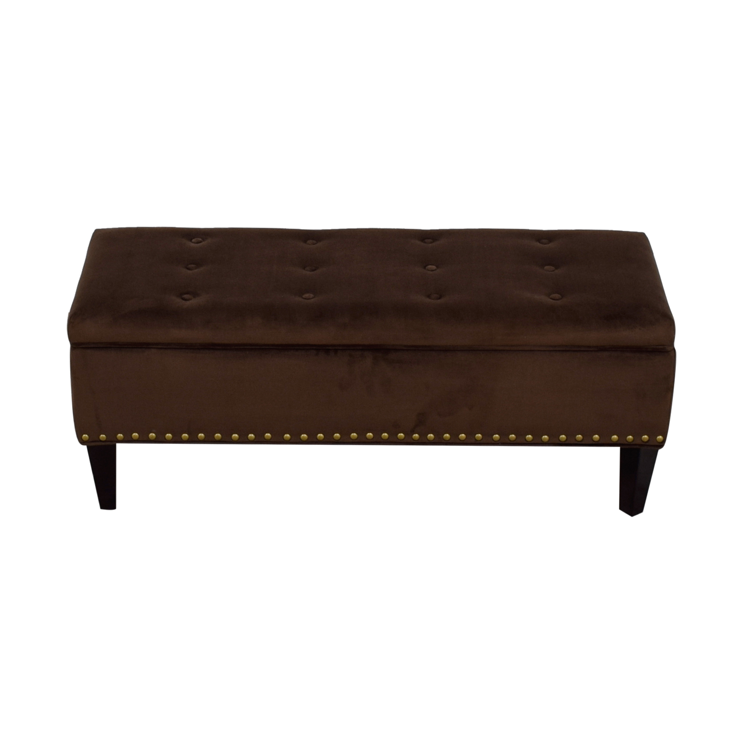 Brown Tufted Nailhead Storage Ottoman dimensions