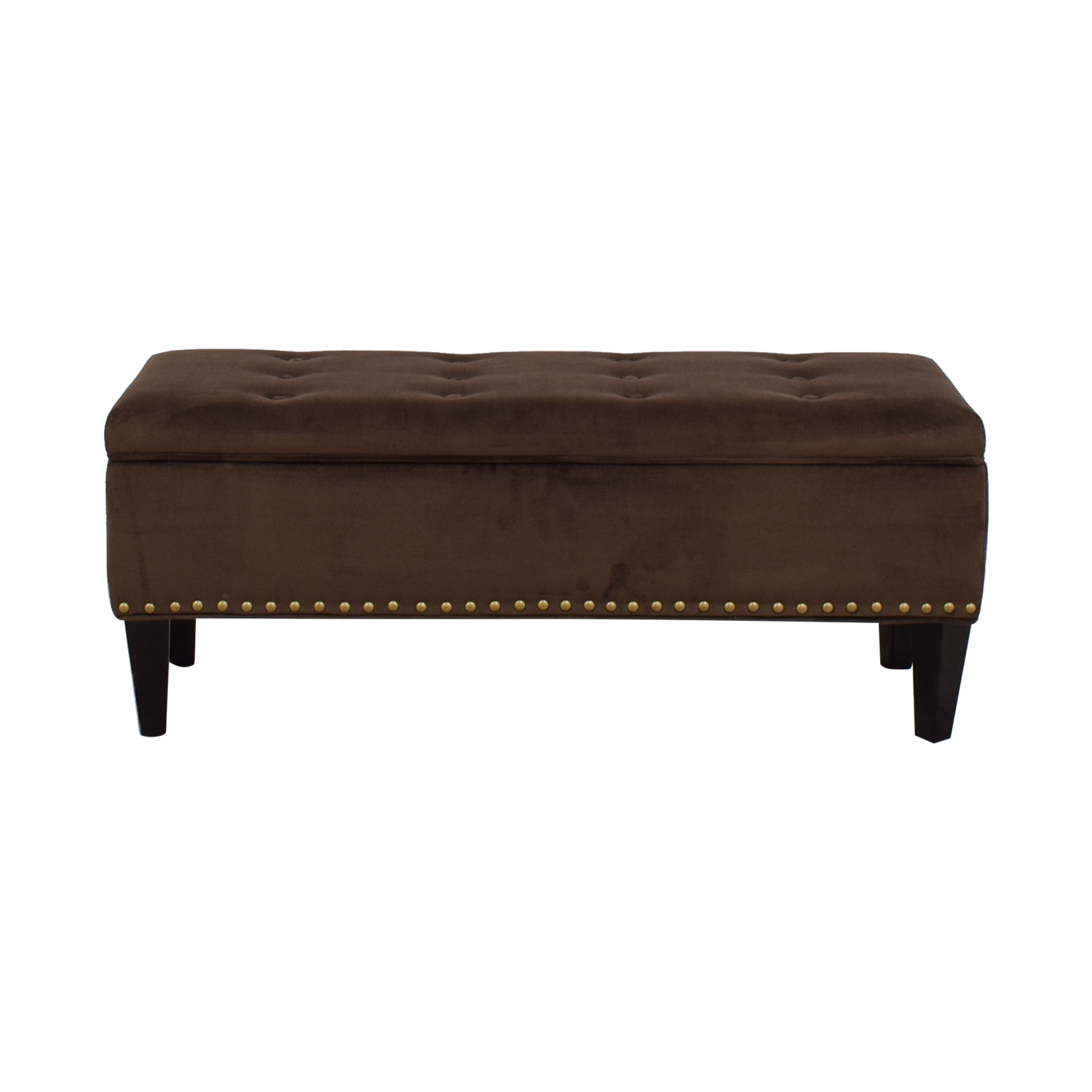 Brown Tufted Nailhead Storage Ottoman