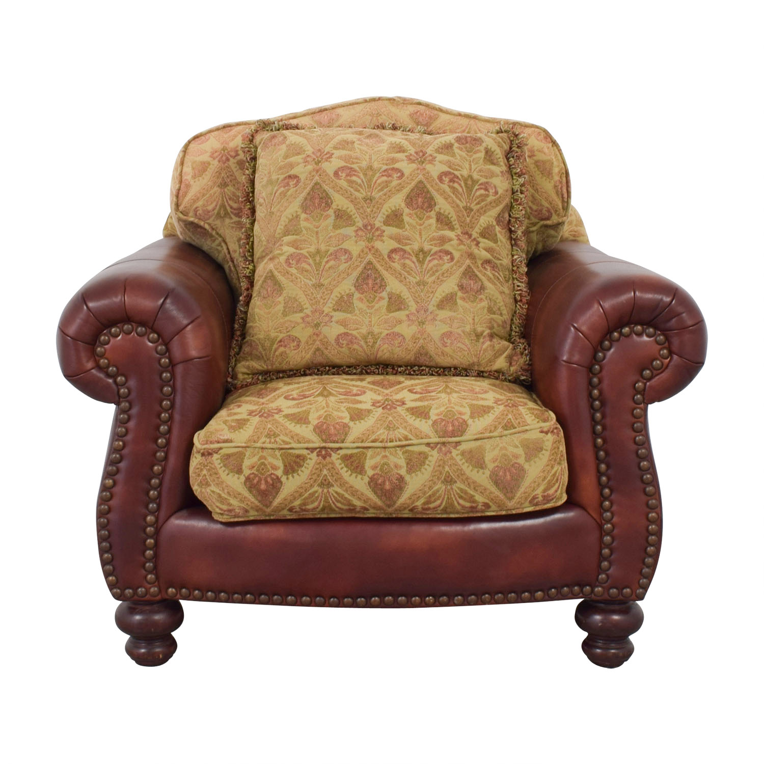 Distinctions Distinctions Red Leather Nailhead Club Chair with Upholstered Cushions Accent Chairs