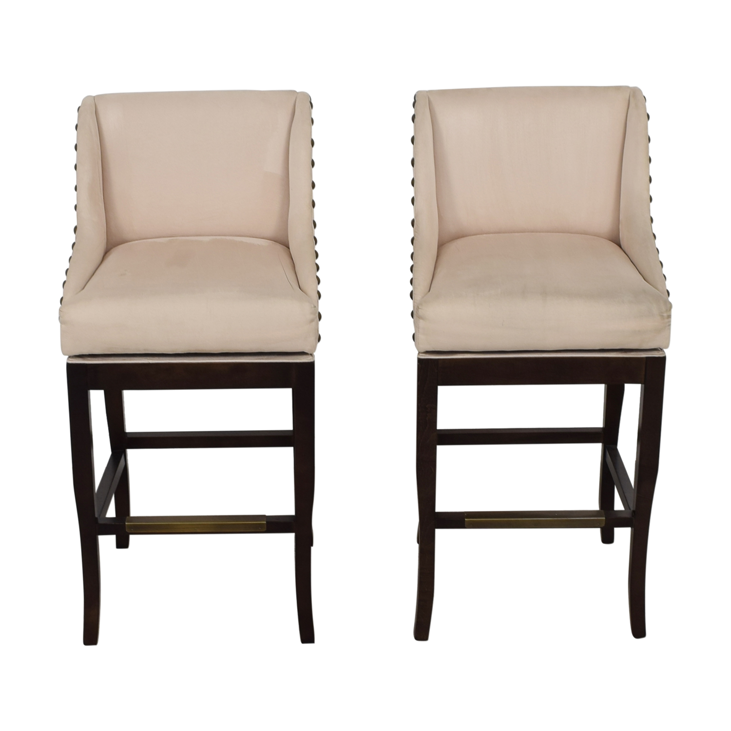 Ballard Designs Ballard Designs Marcello Beige Nailhead Bar Stools second hand