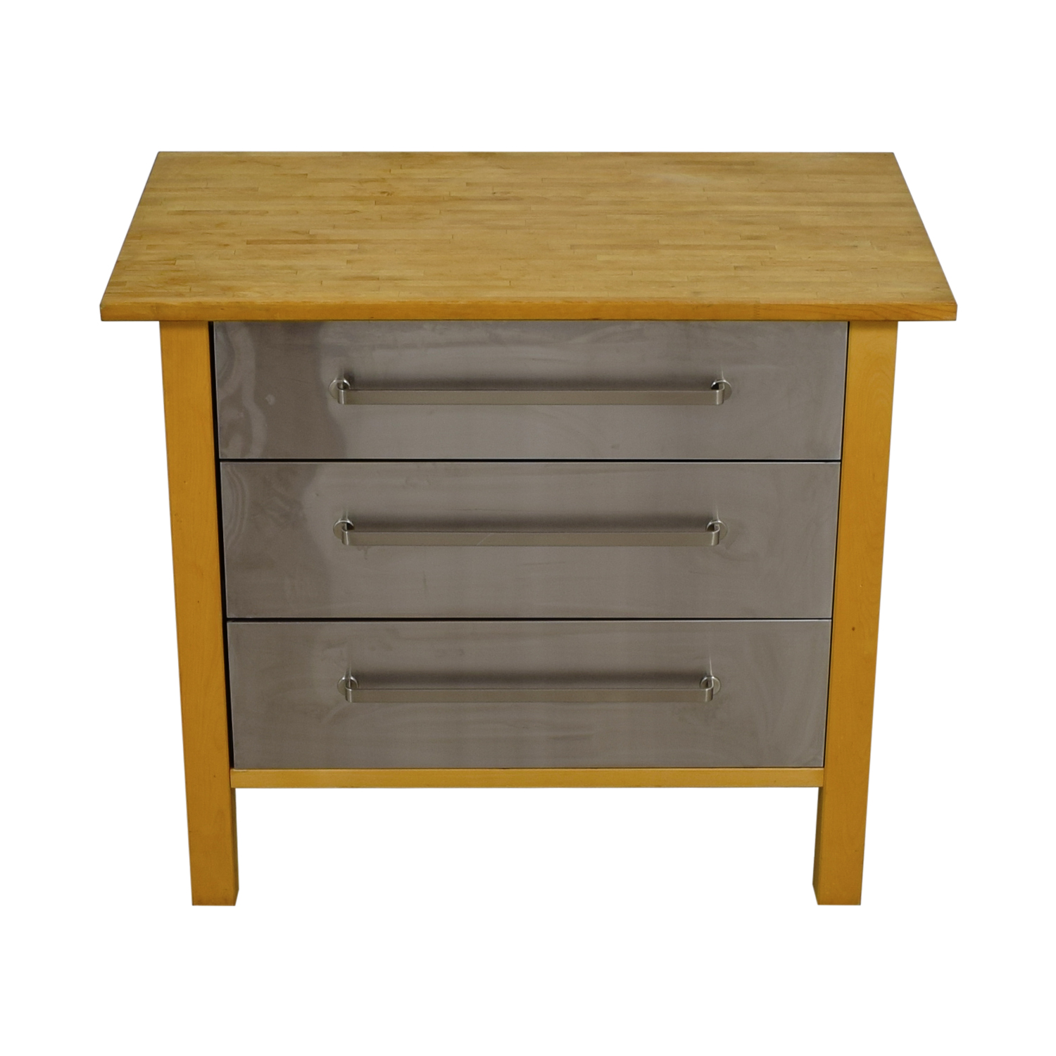 IKEA IKEA Varde Kitchen Butcher Block Island with Metal Drawers for sale