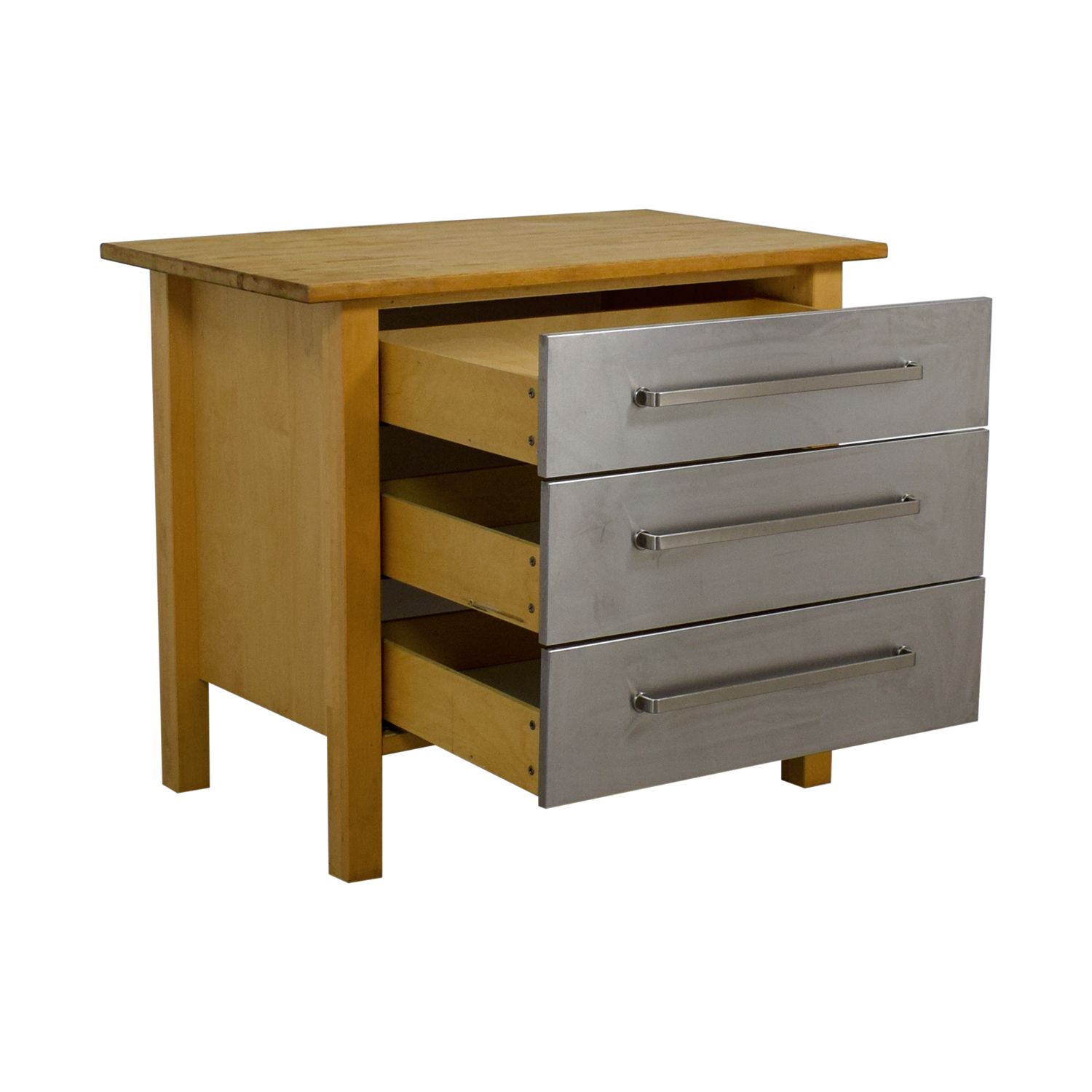 77% OFF - IKEA IKEA Varde Kitchen Butcher Block Island with Metal Drawers /  Tables