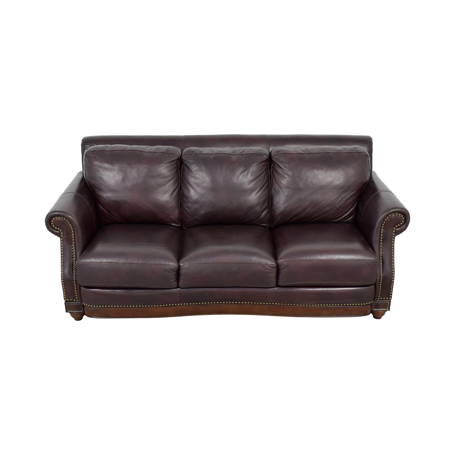 Raymour & Flanigan Brown Leather Nailhead Sofa sale