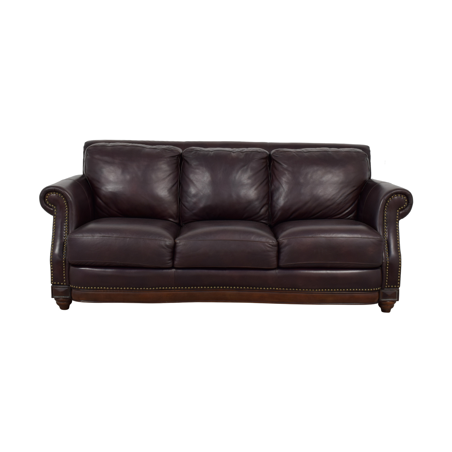 Raymour & Flanigan Raymour & Flanigan Brown Leather Nailhead Sofa coupon