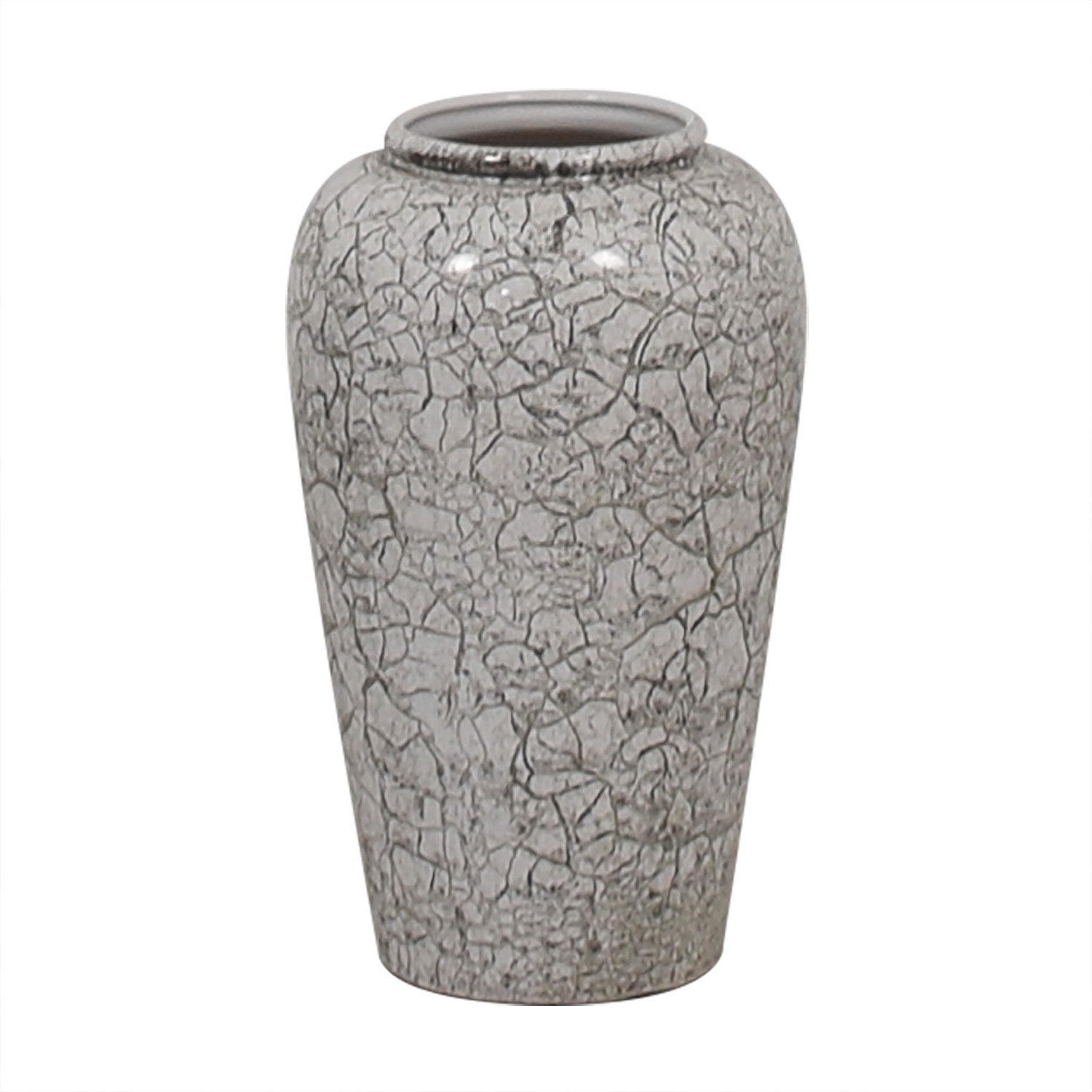 German White and Grey Crackled Effect Vase