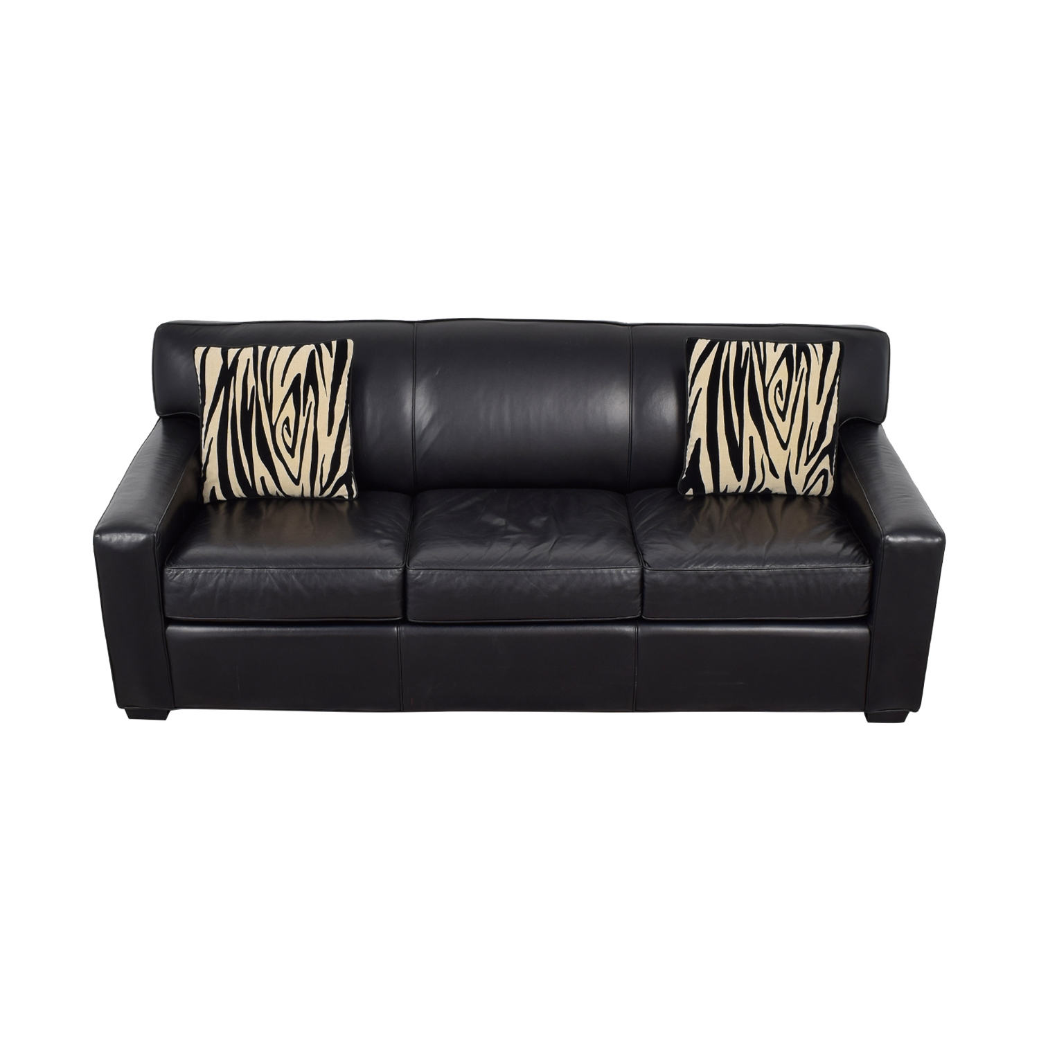 Mitchell Gold + Bob Williams Black Leather Three-Cushion Sofa / Classic Sofas