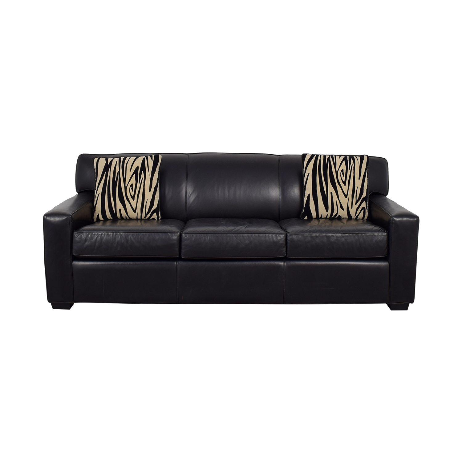 shop Mitchell Gold + Bob Williams Black Leather Three-Cushion Sofa Mitchell Gold + Bob Williams