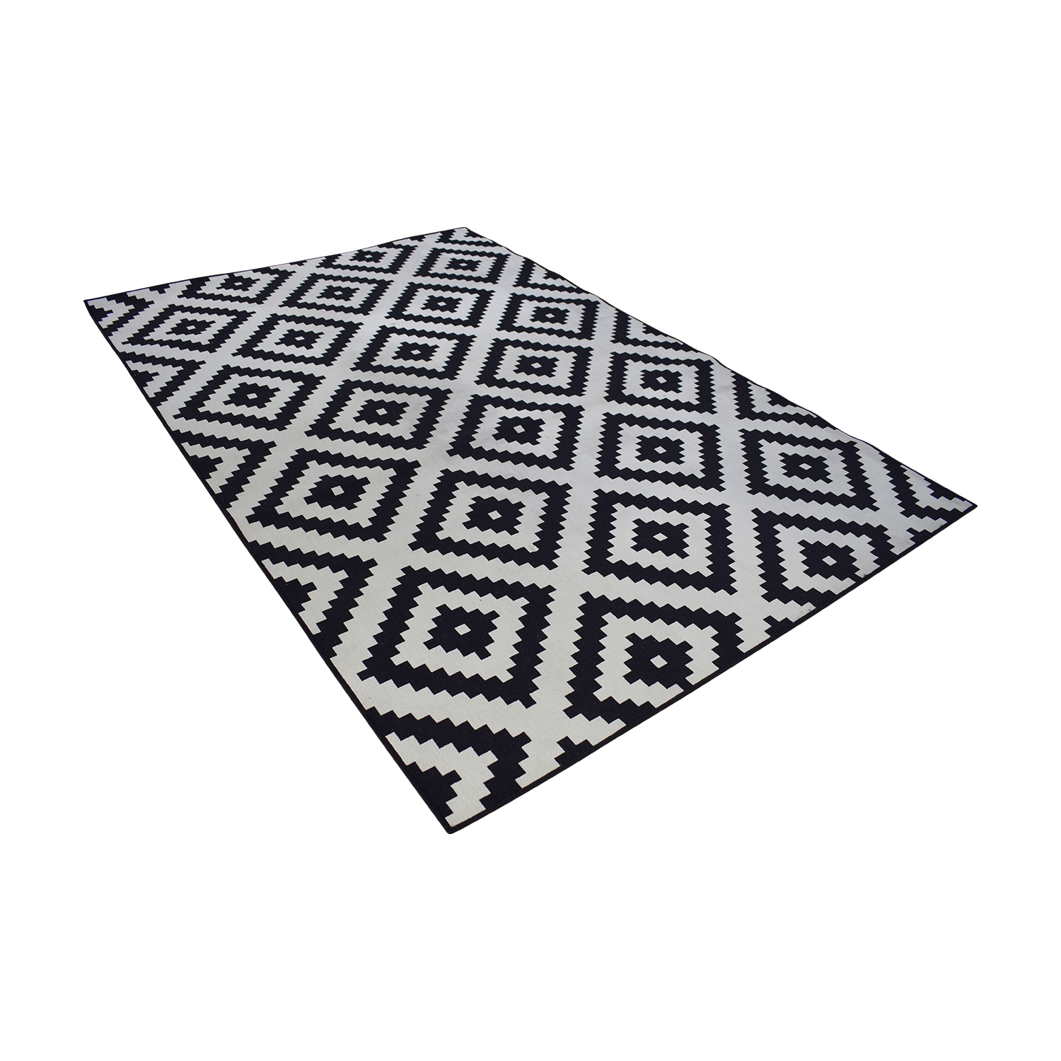 buy IKEA IKEA Lappljung Ruto White & Black Diamond Shape Rug online