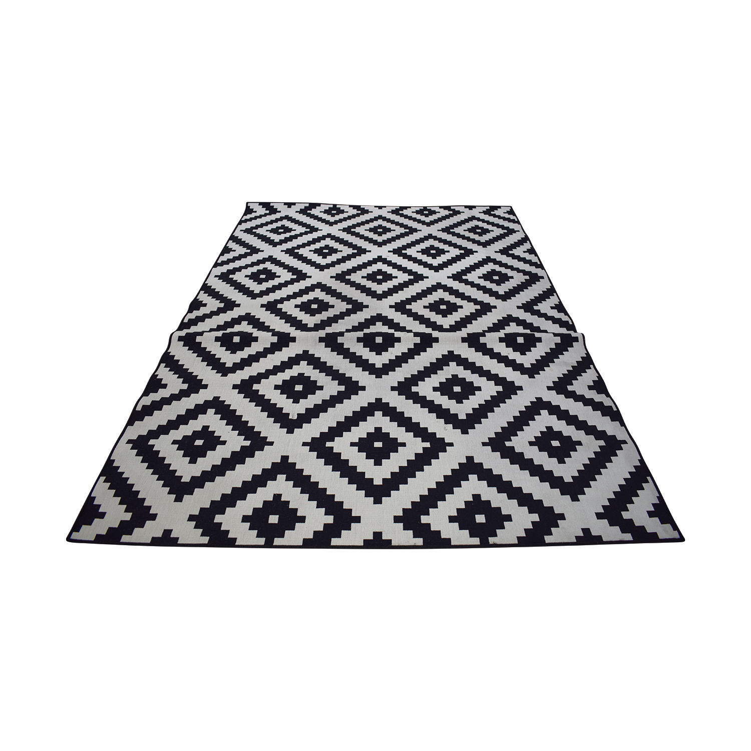 buy IKEA Lappljung Ruto White & Black Diamond Shape Rug IKEA Decor