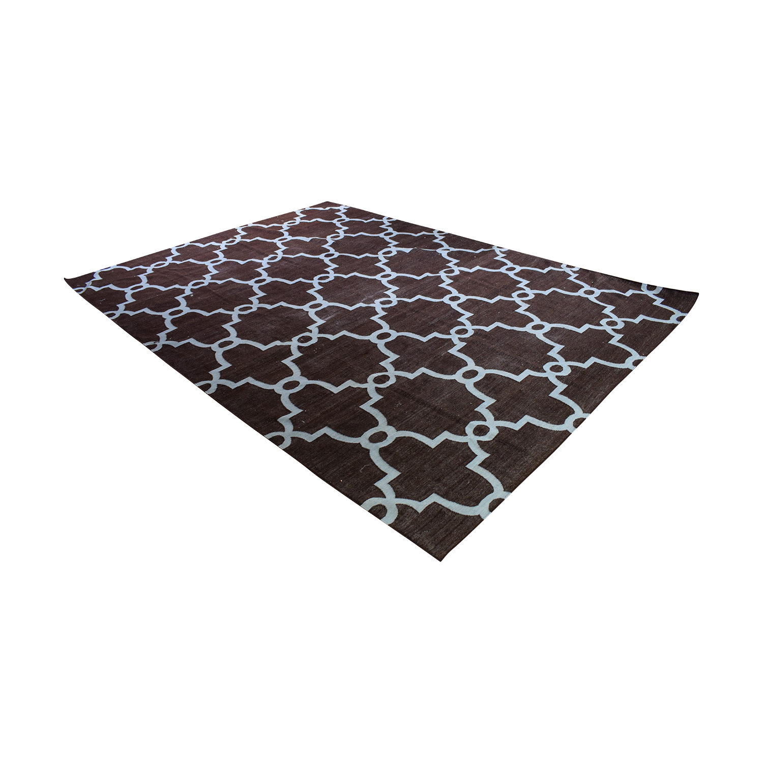 Obeetee Obeetee Brown Dhurrie Hand Knotted Wool Rug discount