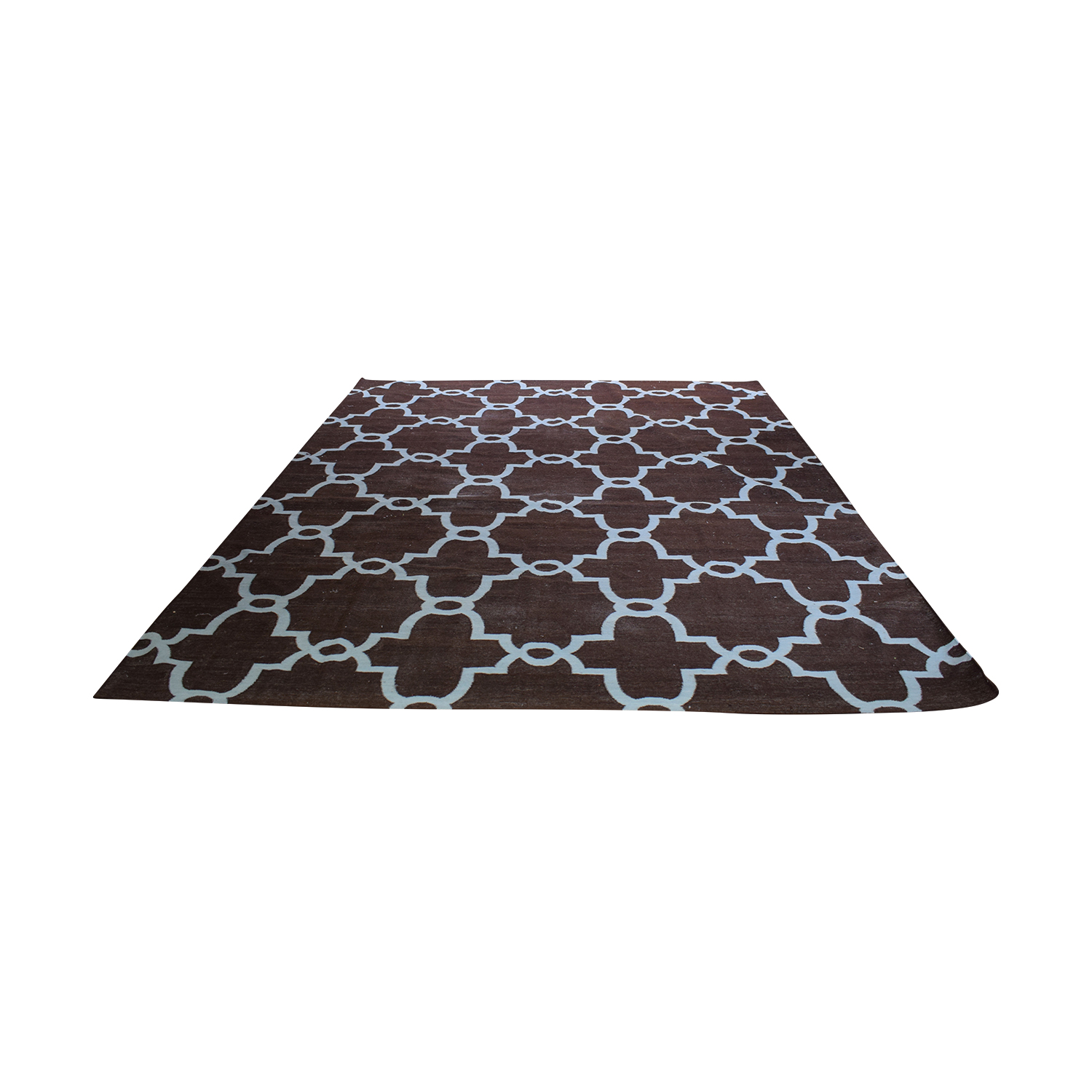 Obeetee Obeetee Brown Dhurrie Hand Knotted Wool Rug Rugs