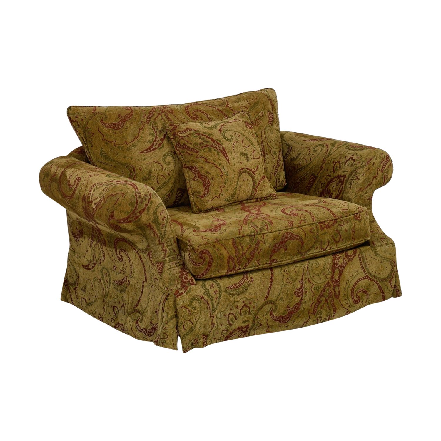 Bernhardt Gold and Red Love Seat sale