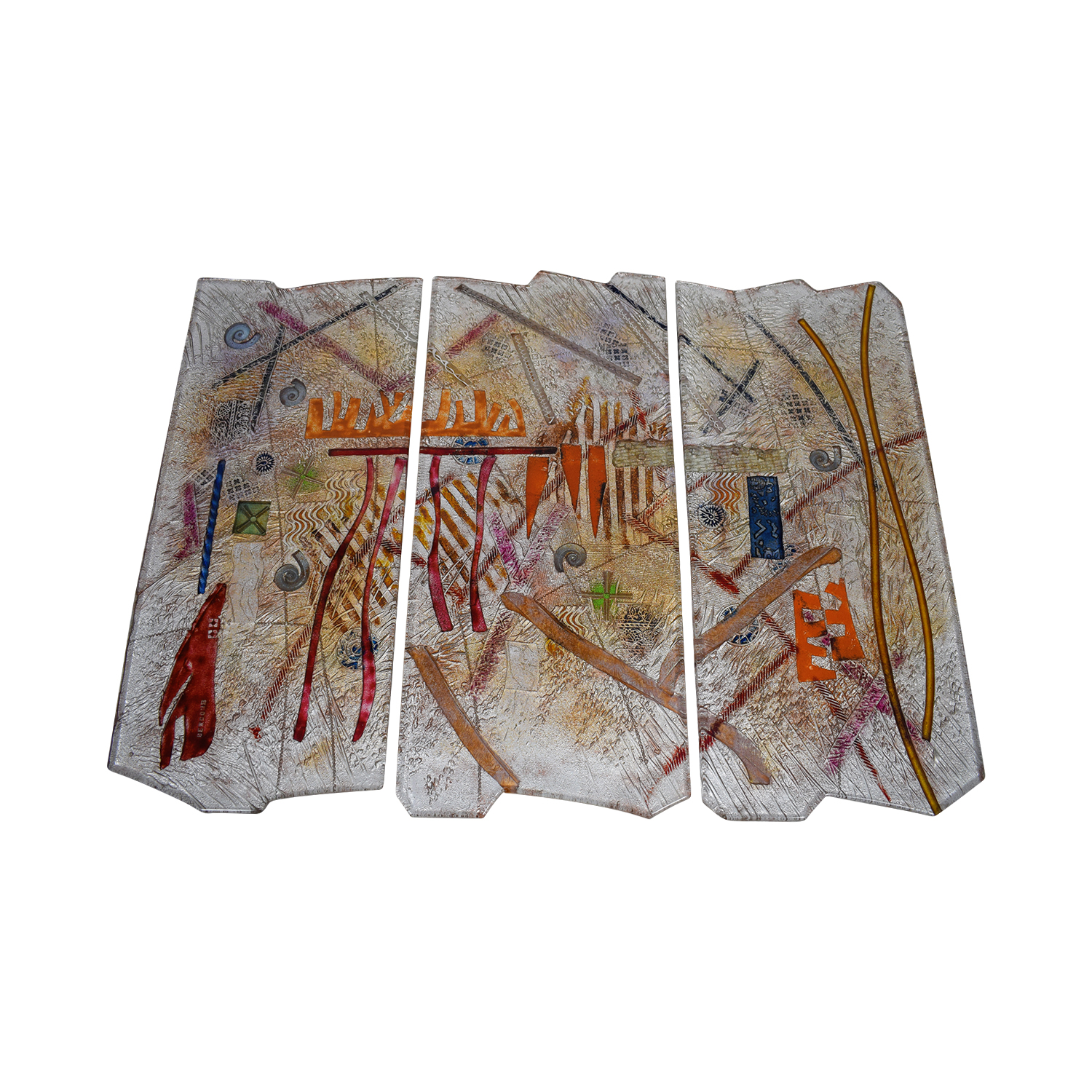 buy Gerry Newcomb Kiln Cast Triptych Glass Artwork with Gold Paint Gerry Newcomb Decor