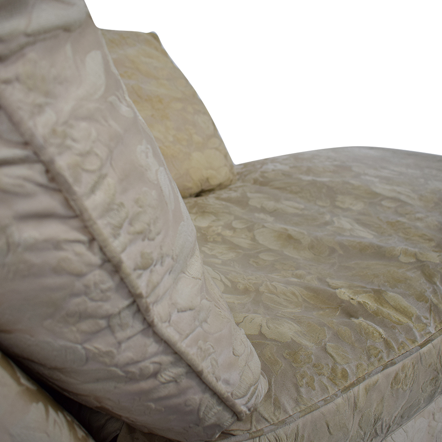 Jacquard Beige Skirted Chaise dimensions