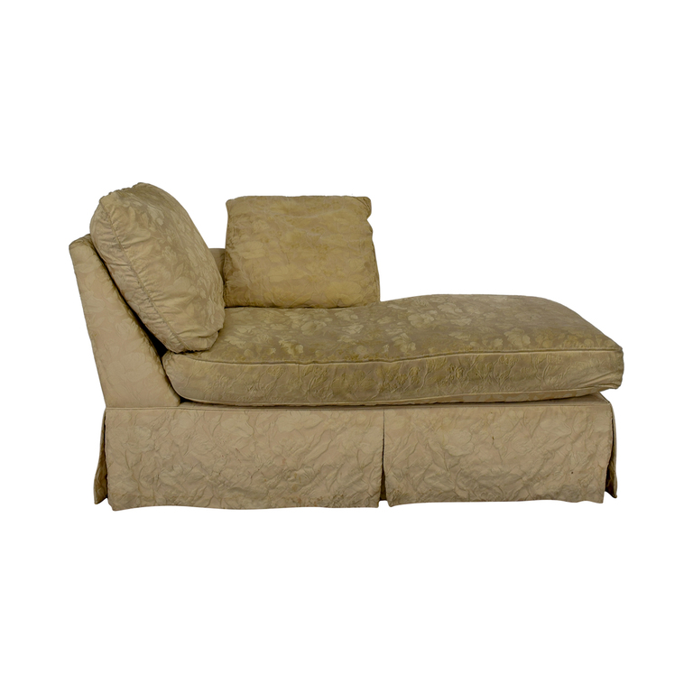 Jacquard Beige Skirted Chaise for sale