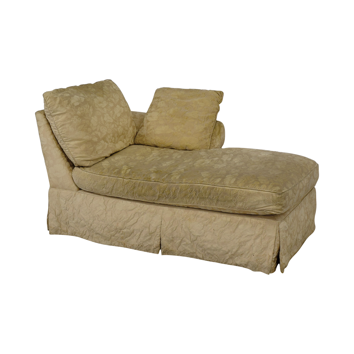 Jacquard Beige Skirted Chaise