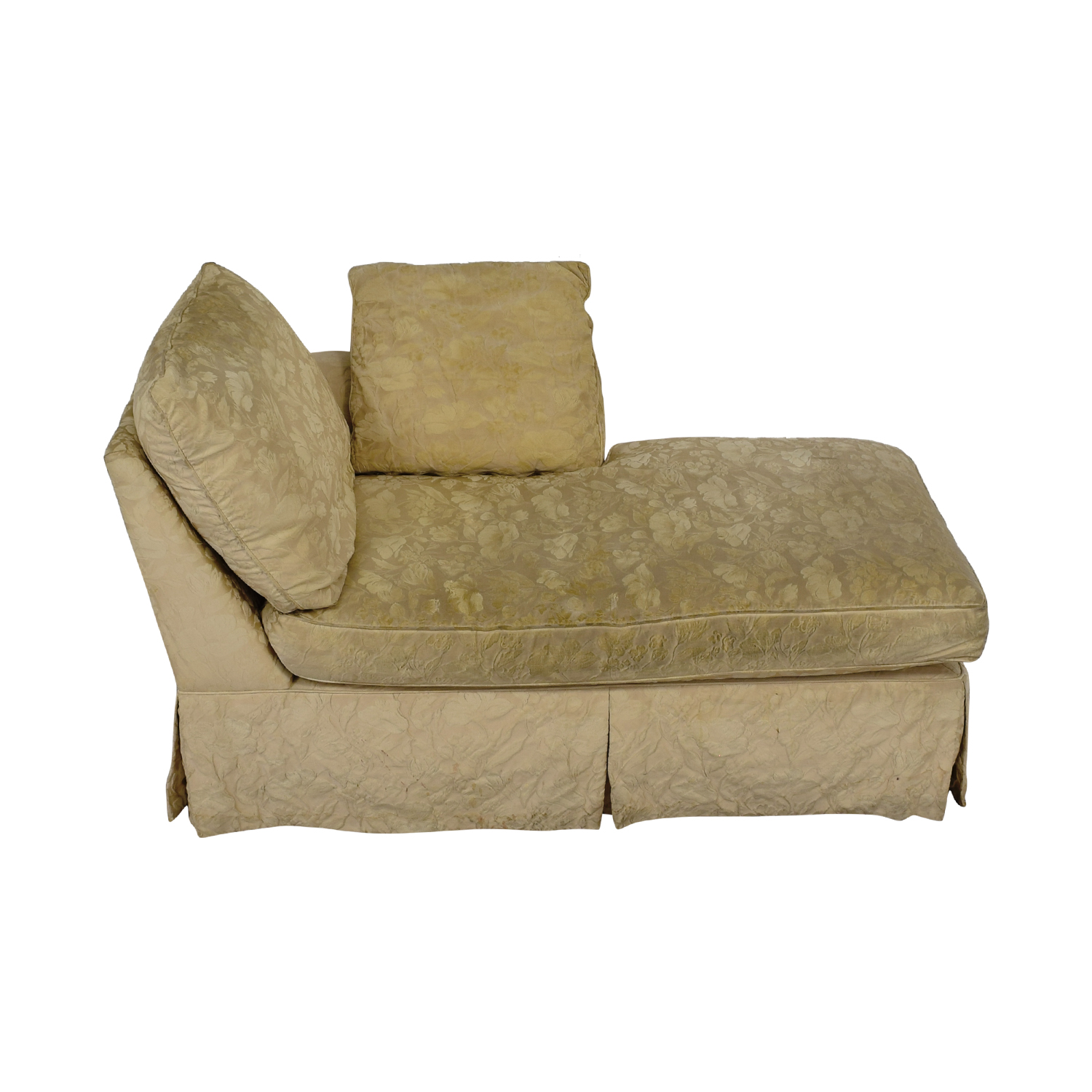 Jacquard Beige Skirted Chaise / Sofas