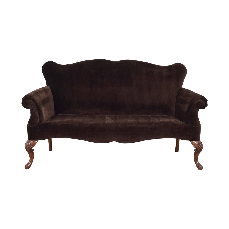 buy Martha Stewart Martha Stewart Brown Velvet Settee online