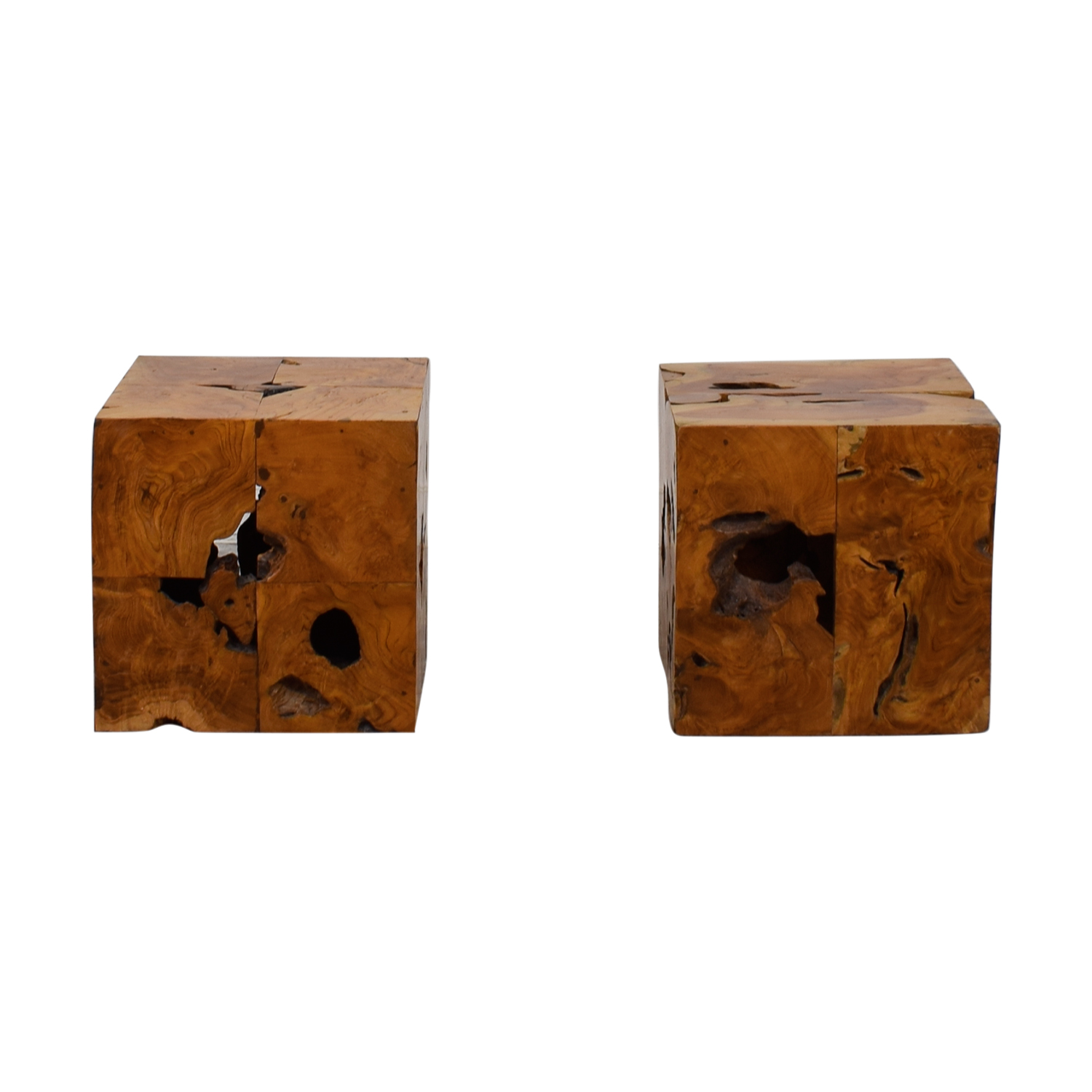 Natural Rustic Wood End Tables Tables