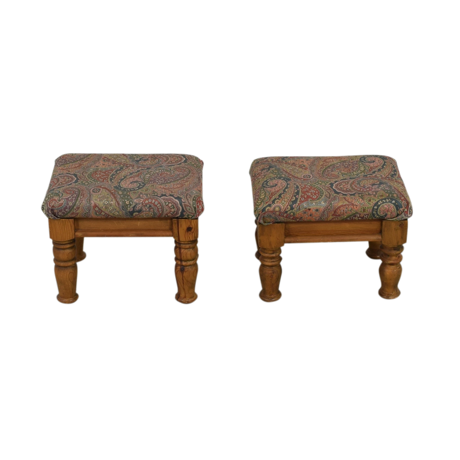 Multi-Colored Paisley Upholstered Wood Ottomans or Foot Stools nj
