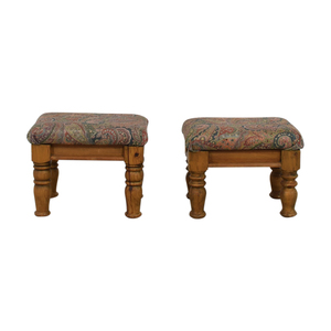 Multi-Colored Paisley Upholstered Wood Ottomans or Foot Stools used