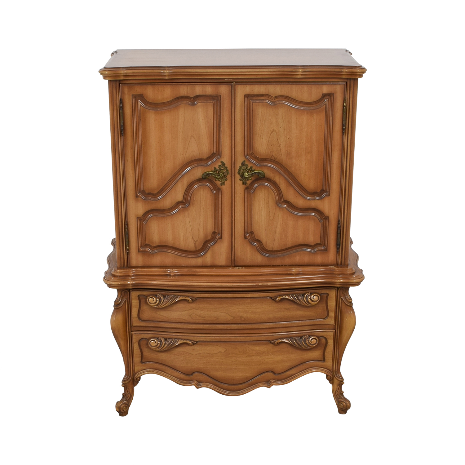 Dovetailed Carved Wood Chest of Drawers Armoire