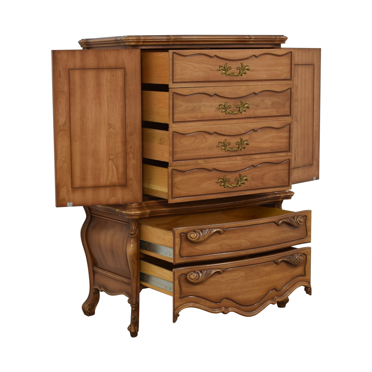 Dovetailed Carved Wood Chest of Drawers Armoire for sale