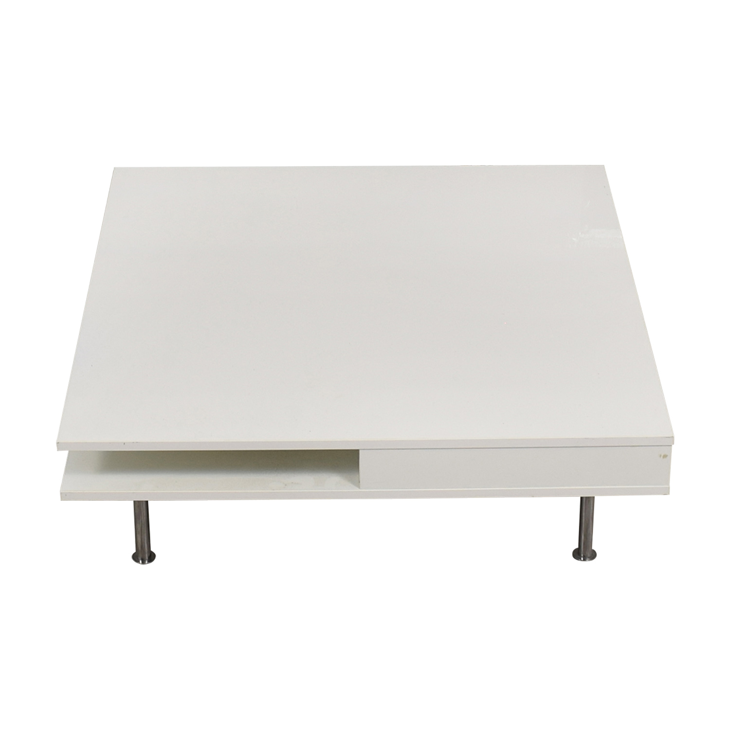 IKEA IKEA White Two-Drawer Low Coffee Table second hand