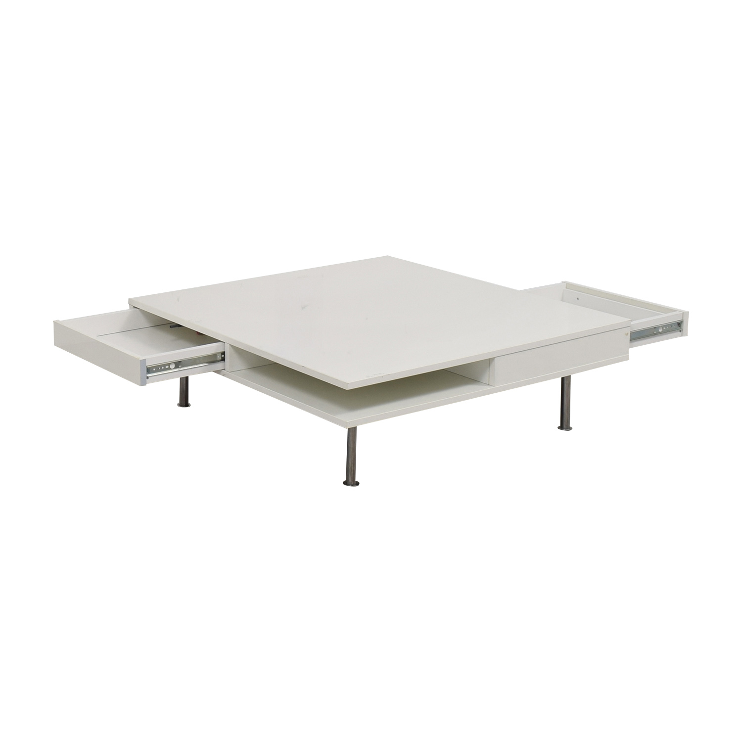 5086bc5c9fbc 61% OFF - IKEA IKEA White Two-Drawer Low Coffee Table   Tables