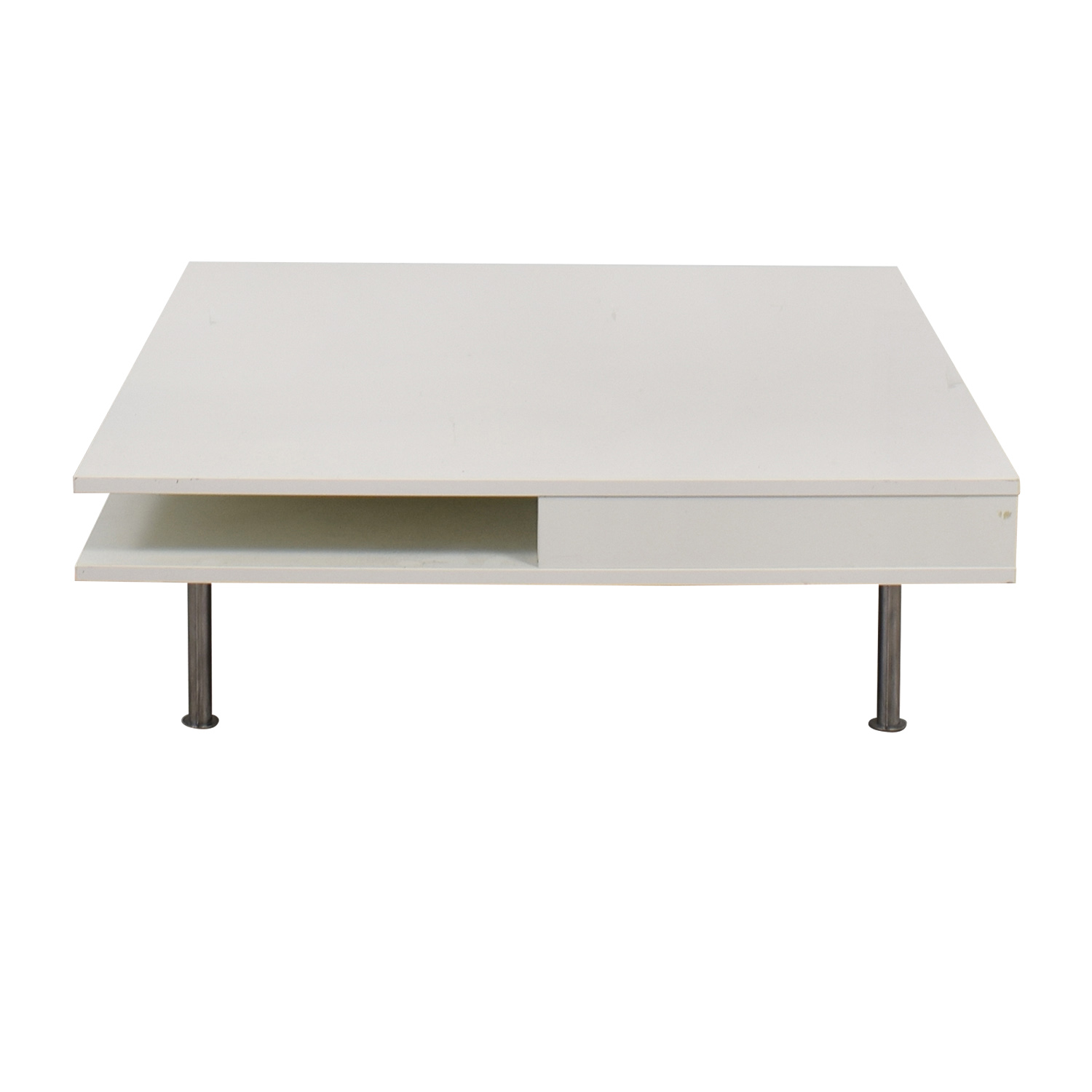 61% OFF   IKEA IKEA White Two Drawer Low Coffee Table / Tables