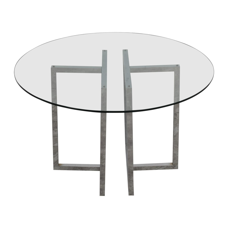 CB2 Silverado Glass Round Dining Table sale