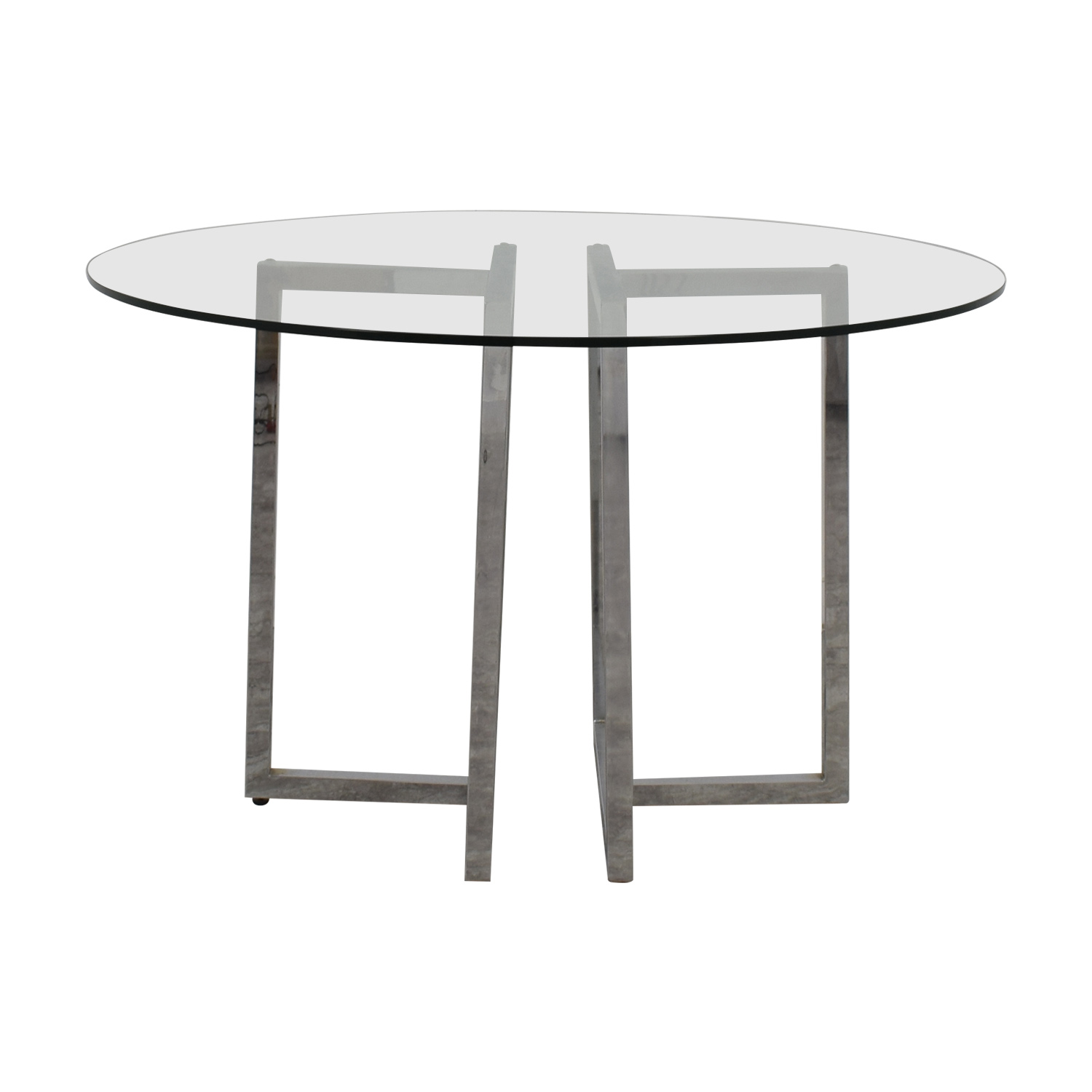 Admirable 64 Off Cb2 Cb2 Silverado Glass Round Dining Table Tables Caraccident5 Cool Chair Designs And Ideas Caraccident5Info
