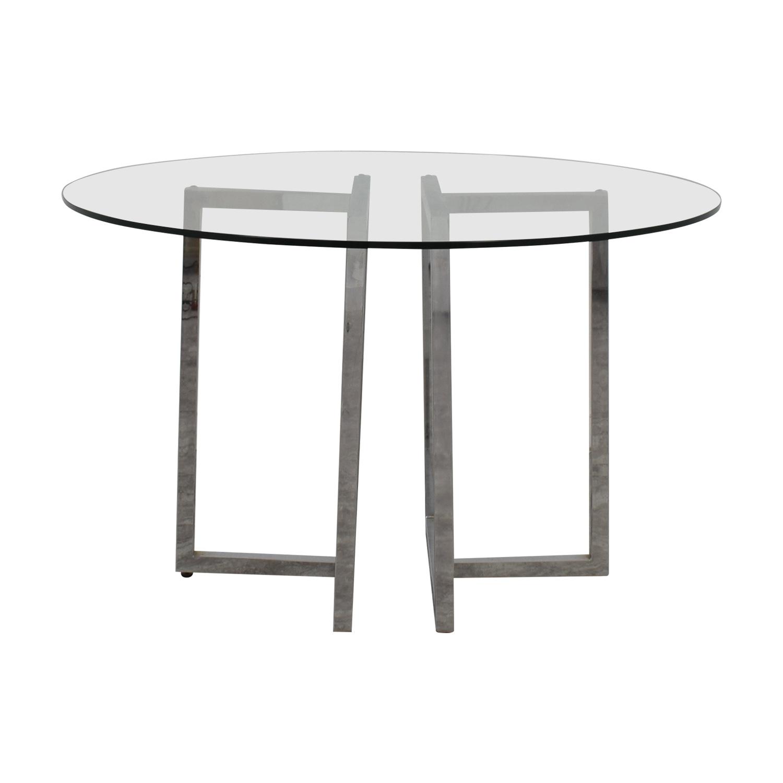 CB2 CB2 Silverado Glass Round Dining Table nyc