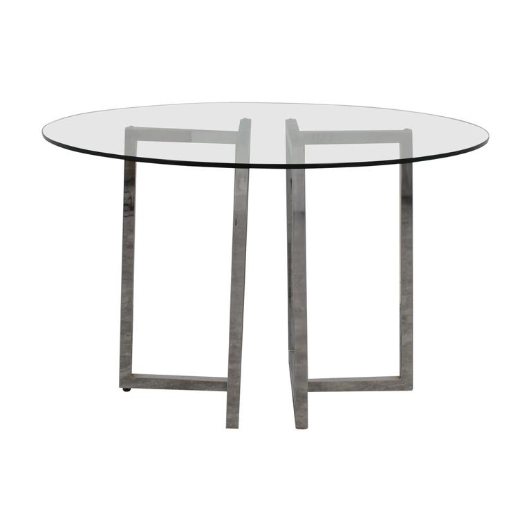 buy CB2 Silverado Glass Round Dining Table CB2