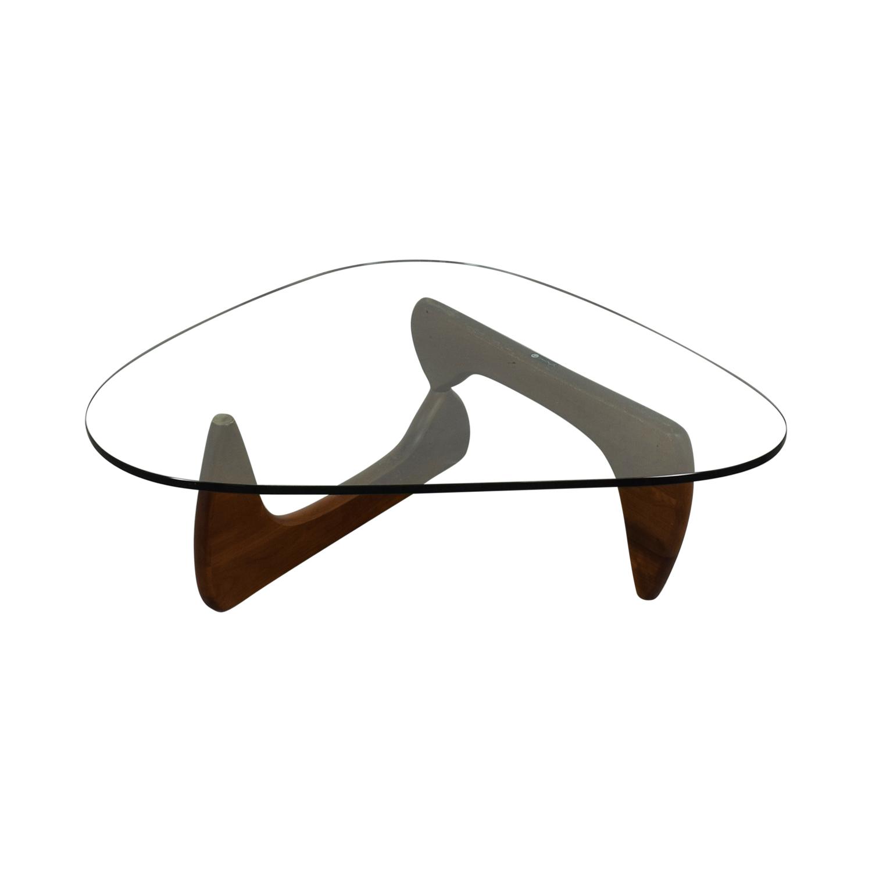 Noguchi Noguchi Walnut and Glass Coffee Table Signed Sofas