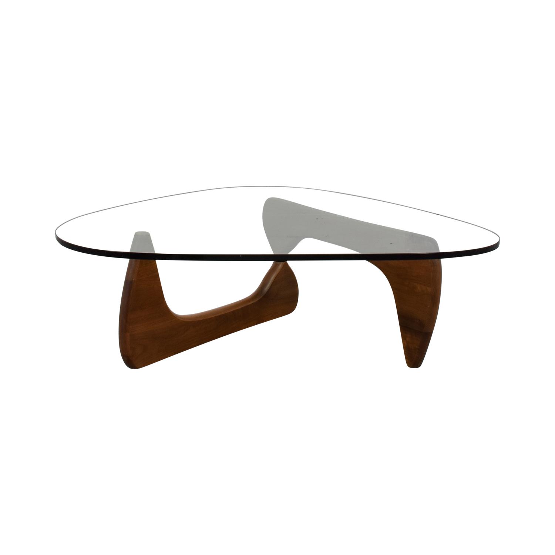shop Noguchi Walnut and Glass Coffee Table Signed Noguchi Sofas
