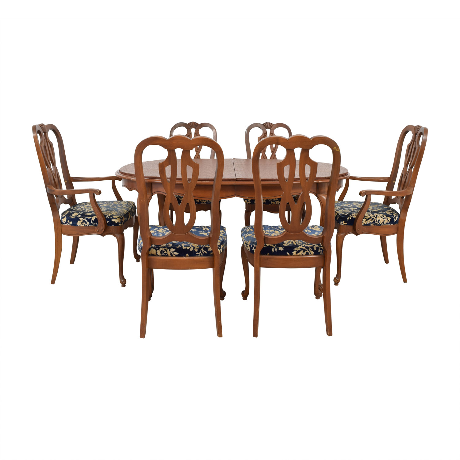 Wood Extendable Dining Set with Six Comfort Crafted Upholstered Chairs used